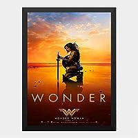 ハンギングペインティング - ワンダーウーマン Wonder Women 6のポスター 黒フォトフレーム、ファッション絵画、壁飾り、家族壁画装飾 サイズ:33x24cm(額縁を送る)