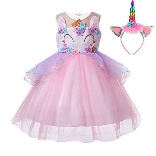 Pretty Princess Vestido para niña Unicornio Disfraz Cosplay 2PCS Princesa Fiesta de Halloween...