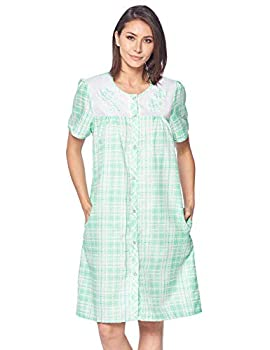 Casual Nights Women s Short Sleeve Snap-Front Lounger Duster House Dress  Plaid Green Medium
