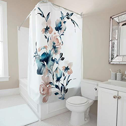 Tentenentent Cortina de ducha con diseño de flores, de acero inoxidable, con anillos incluidos, para bañera, color blanco, 180 x 180 cm