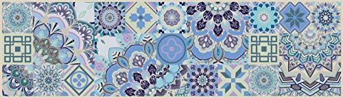 Tape Design KU-NA1013-140 Passatoia, Microfibra di Ciniglia di Poliestere, Multicolore-Azzurro Chiaro, 52X140