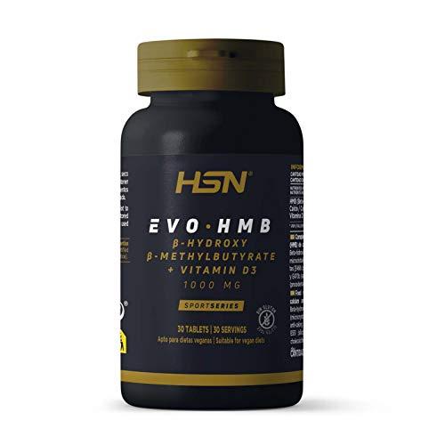 HMB de HSN | Evohmb 1000 mg | Con Vitamina D | Anticatabólico, Ayuda a Ganar Masa Muscular, Recuperador, Ideal para Dieta de Definición | Vegano, Sin Gluten, Sin Lactosa | 30 Tabletas