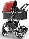 LOXZJYG para recién Nacidos y niños pequeños - Convertible Compact Compact BEBY Siste Siente DE Lujo PRAMA DE Lujo AÑADIR Soporte de Taza Footmpuffin y Bandeja de cochecitos (Color : Rojo)