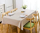 HautStore Mantel Mesa Rectangular Pequeña, 140*200cm Mantel Antimanchas Impermeable Nórdico Moderno de Plástico PVC de Color Champagne para Cocina Comedor