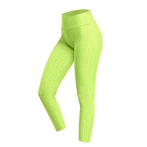 ALXiiii Mallas de Deporte de Mujer, Levantamiento de Glúteos de Cadera con Burbujas Leggings Anticelulíticos Entrenamiento de Cintura Alta Control de Abdomen Medias de Yoga (Yellow,XS)