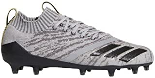 Adizero 5-Star 7.0 Primeknit Football Cleats (12.5, Grey/Core Black/Vivid Yellow)