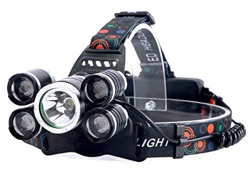Egab LED Head Lamp Flash Light Torch with Adjustable Rechargeable Battery