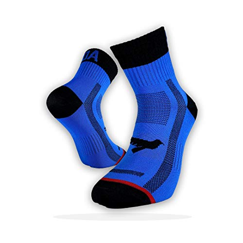 KOA ELITE Performance Cycling and Running socks Light compression arch support for Men and Women All season sweat wicking Quick Dry and Breathable sports sock BLUE EXPOSE