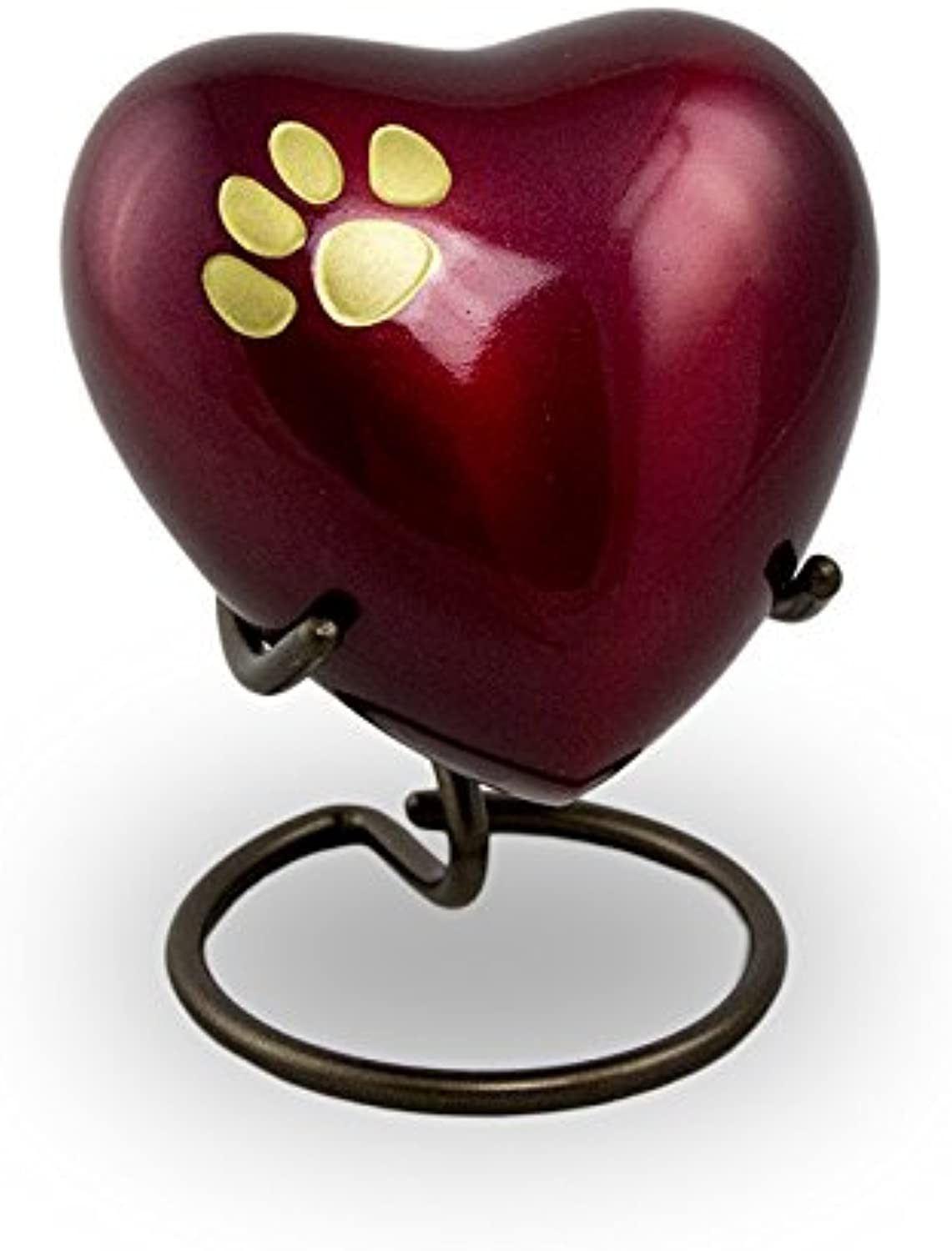 OneWorld Memorials Pet Paw Bronze Pet Urn  Extra Small  Holds Up to 3 Cubic Inches of Ashes  Crimson Red Pet Cremation Urn for Ashes  Engraving Sold Separately