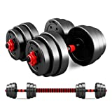 T&R sports Adjustable Rubber Dumbbell Set Barbell Home Gym Exercise Weights Fitness 20kg