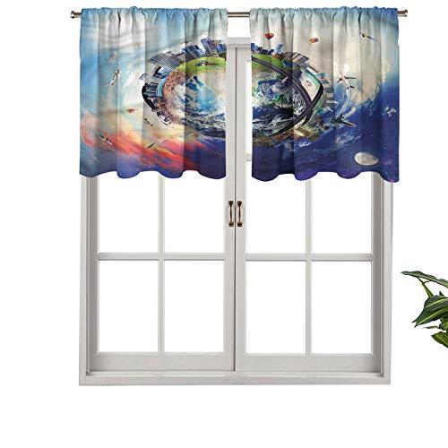 Hiiiman Cenefa recta, panel de cortina de gran calidad con bolsillo para barra, diseño de mundo empresarial, juego de 2, 137 x 60 cm, ideal para cualquier habitación y dormitorio