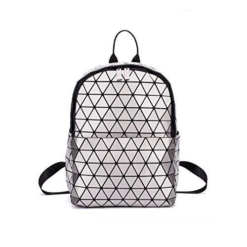 BSTLY Mochila bolso de hombro geométrico rómbico PU charol brillante hombres y mujeres bolso de escuela plata 39x30cm