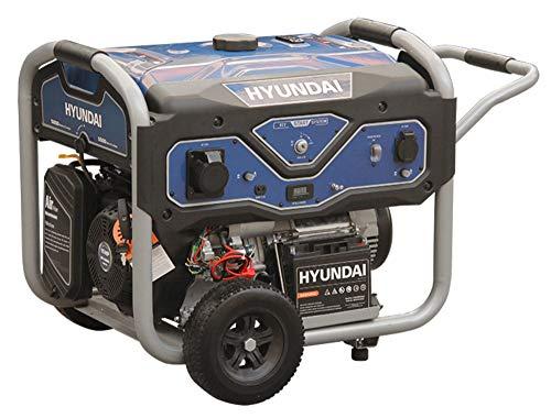 HYUNDAI Benzin Generator BG55053, Stromerzeuger mit 15PS Motor und 5.5kW max. Leistung, Handstart und E-Start, Notstromaggregat für Baustellen mit 2 x 230V Anschlüssen, Stromgenerator, Stromaggregat