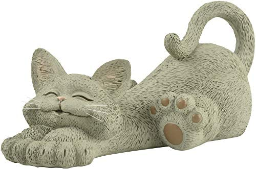 Whimsical Grey Cat Lounging Figurine Cute Collectible Happy Cat Collection Cat Lover Gifts for product image