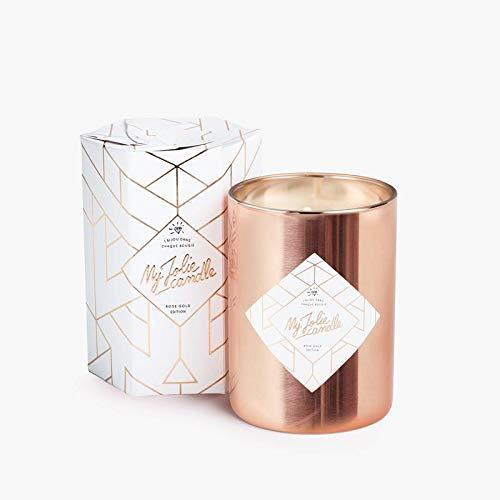 MY JOLIE CANDLE - Bougie parfumée avec Bijou Suprise à l'intérieur - Bijou : Collier en Plaqué Or Rose - Rose Gold Edition - Cire Naturelle végétale - 330g - 70h Combustion