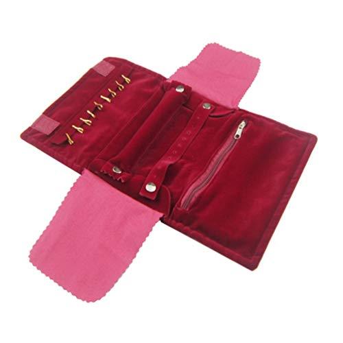 Cabilock Organisateur de Bijoux de Voyage Sac à roulettes Étui de Rangement Portable pour Bijoux pour Boucles d'oreilles Bracelets Colliers Bagues (Rouge)