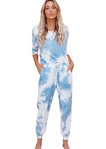Conjunto Pijama Mujer Tie Dye Manga Larga Pijamas Largos Mujer Tallas Grandes Homewear Set Pijama Dos Piezas Mujeres Talla Grande Ropa de Dormir Mujer Traje Pijamas 2 Piezas Señora Oversize Azul M