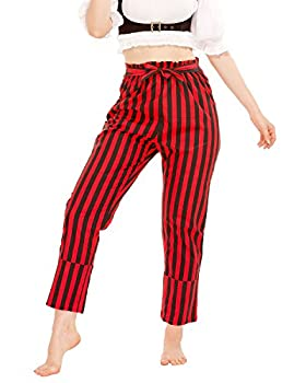 Pirate Renaissance Medieval Gothic Wench Cosplay Costume Women s Self-Tie Frill-Waist 100% Cotton Striped Pants  Black-Red   Medium