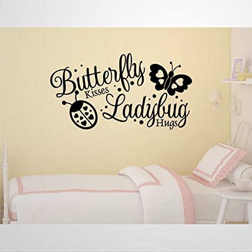 Pegatinas de mariposa besos y mariquita, removibles, pegatinas de pared, diseños temáticos, pegatinas de niña, pegatinas removibles, para decoración de pared, arte de pared, decoración del hogar bc263
