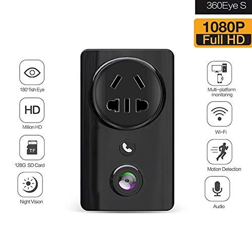 WXJHA WiFi Socket Surveillance Cam Monitor, HD 1080P di Sostegno del Monitor remoto Guarda Il Movimento Plug Fotocamera panoramica