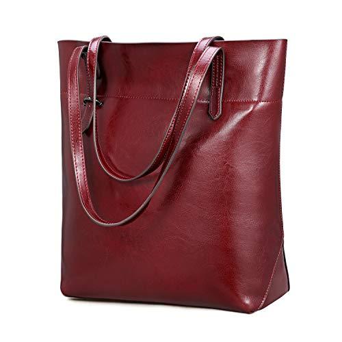 Kattee Vintage echtes Leder Tote Schultertasche Damen, Handtaschen Tragetasche Damen mit verstellbaren Griffe, Rot