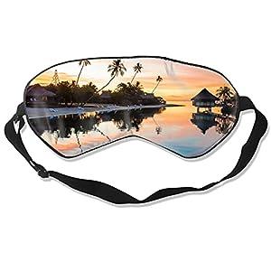 Maschera per gli occhi al tramonto tropicale per dormire, morbida e soffice, per il sonno, per donne e uomini, al 99% di copertura per gli occhi bendati per viaggi turno e lavoro pisolini