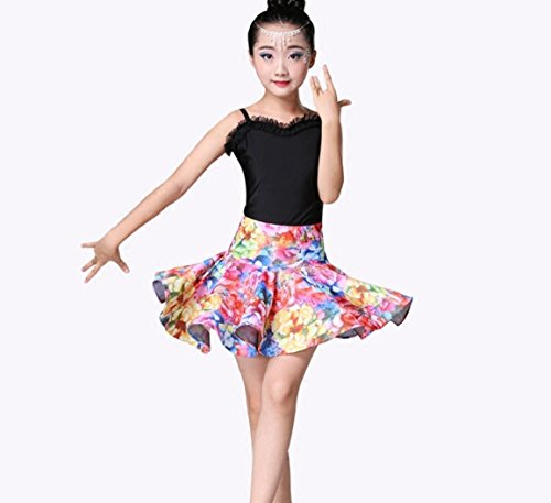 Kinder Latein Tanz Rock weibliche Latin Dance Kostüm Praxis Arbeit Kleidung Leistung Wettbewerb Kleidung, 120cm