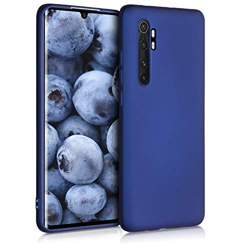 kwmobile Cover Compatibile con Xiaomi Mi Note 10 Lite - Protezione Back Case Silicone TPU Effetto Metallizzato - Custodia Morbida Blu Metallizzato