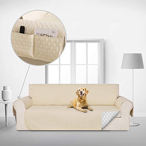 Deconovo Copridivano 3 Posti Antiscivolo Trapuntato con Tasche Fodera Divano Protegge Il Mobile per Cani/Gatti Letto Beige
