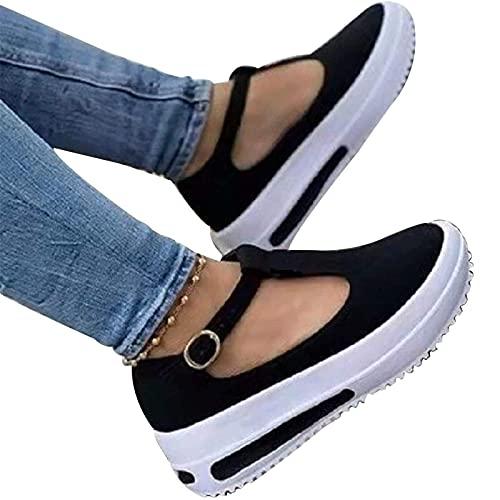 Sandalias de plataforma de cuña a la moda para mujer, sandalias con correa de hebilla, mocasines de verano Retro con cabeza redonda, zapatos de cuña de tacón bajo, sandalias informales con plataforma