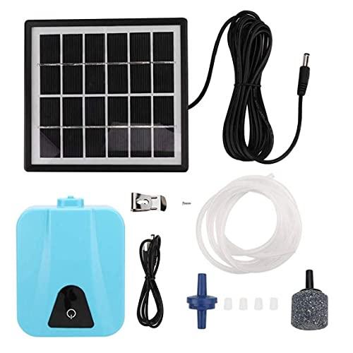 Solare Wasser-Luftpumpe Teich Wasserdichte USB-Oxygenator Luftsauerstoffpumpe Belüfter für Garten Outdoor-Pool Teich, Solarwasser-Luftpumpe