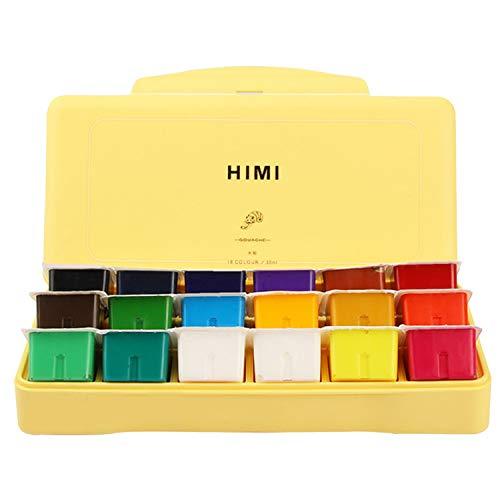 18 Colores Gouache Paint Set Jelly Cup Design Pintura no tóxica con paleta para niños Estudiantes Principiante Suministros de pintura de acuarela Amarillo