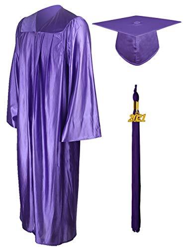 GraduationMall Shiny Graduation Gown Cap Tassel Set 2021 for High School Purple 51(5'6'-5'8')