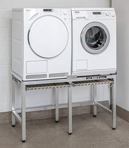 Waschmaschinen Untergestell Waschmaschinensockel Mara 2 Auszüge 6 Beine 70 cm hoch 2 rappelfrei Speziell für stark schwingende Maschinen extra verstärkte Alu-Ausführung rostfrei