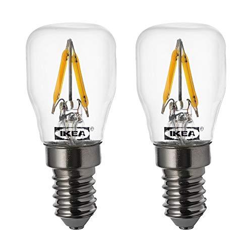 Ikea Ryet E14 LED-Leuchtmittel mit Glühfaden, 80 Lumen, 0,8 Watt, 2700 Kelvin – 2 Stück