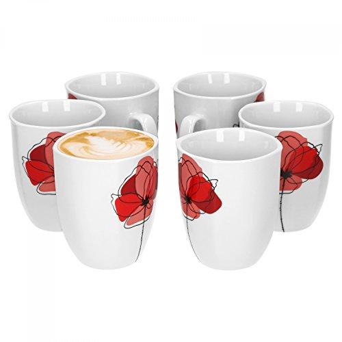 Van Well Monika 6er Set Kaffeebecher, 330 ml, H 10,3 cm, Kaffeetasse, Blumendekor, edles Marken-Porzellan