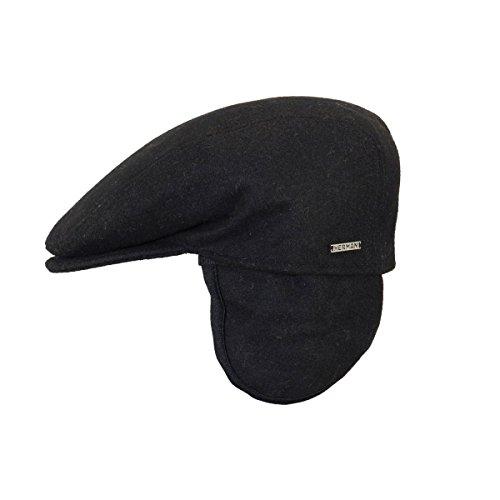 Herman Headwear - Casquette Herman plate Noire avec rabat - Noir 55 Homme/Femme