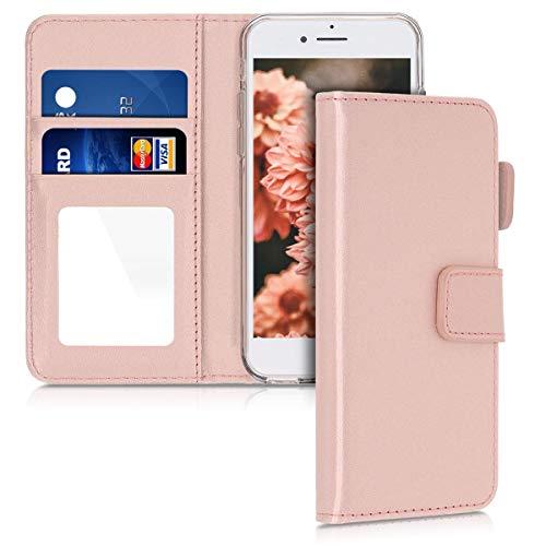 kwmobile Funda Compatible con Apple iPhone 6 / 6S - Carcasa con Ranuras para Tarjeta y Espejo - Oro Rosa