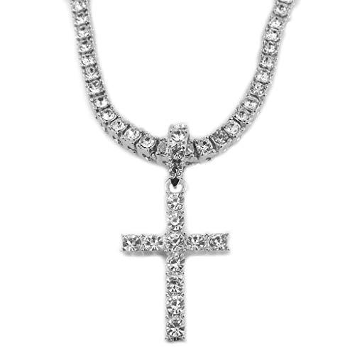 WOWOWO Collar Cristales Cruz Colgante Collar Cristales Sagrados Colgante Cruz con Cadena de Rhinstone