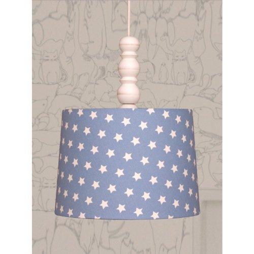 Livin-design Suspension Abat-Jour Étoiles Bleu 28/25 cm avec câble Suspendu, Rosace Élément & Bois E27