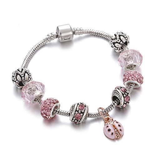 DMUEZW Crystal Charm Bracelets Bangles Retro Silver Girl Heart Insect Bead Pendiente de la Cadena de la Serpiente para Las Mujeres Regalo Brazalete joyería Hecha a Mano