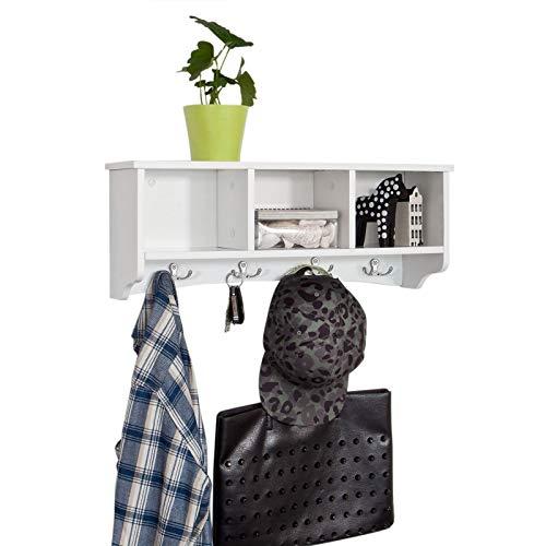 SoBuy® FRG48-W Wandgarderobe,Wandhaken, Hängeregal, Badezimmerschrank,mit 4 Haken,weiß, B 60 cm