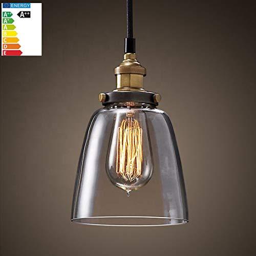 Retro Lampe Vintage Edison Industrie Esstisch Lampe Deckenleuchte Hängeleuchte Deckenlampe Antik ink. LED Glühbirne Pendelleuchte Glas Lampe für Cafes, Bar, Hotel, Club, Lounge Lampe