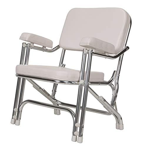 Seachoice 78501 Folding Deck Chair - White Marine Vinyl - Folds for Easy Storage