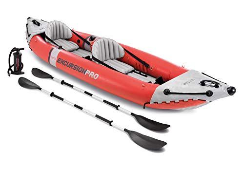 Kayak hinchable Intex excursion pro, medidas 384x94x 46 cm, capacidad para 2 personas, peso máximo que soporta: 180 kg Vinilo resistente de 3 capas y 0,75 mm de grosor, el kayak es de color naranja intenso con gráficos deportivos Tiene 2 asientos hin...