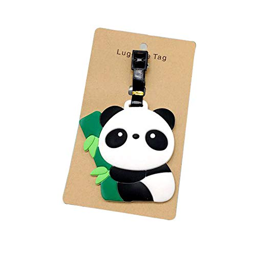 MHKBD Luggage Tags, Cute Panda Luggage Tag Suitcase Labels Bag Tag Travel Accessories, Cartoon Silicone Travel Luggage ID Tag for Bags (3)