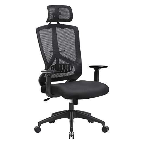 SONGMICS ergonomischer Bürostuhl mit Lendenwirbelstütze, Schreibtischstuhl, Drehstuhl, Computerstuhl, Verstellbare Kopfstütze und Armlehnen, Wippfunktion und Höhenverstellung, Schwarz OBN53BK