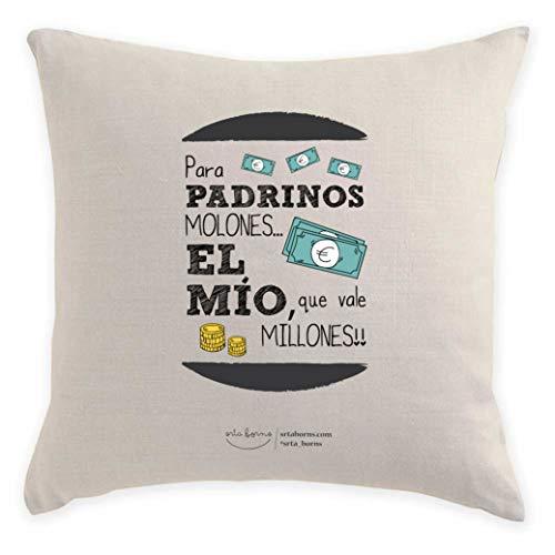 srta. borns Cojín Regalo Padrinos - para Padrinos molones el mío Que Vale Millones (50x50 cm)