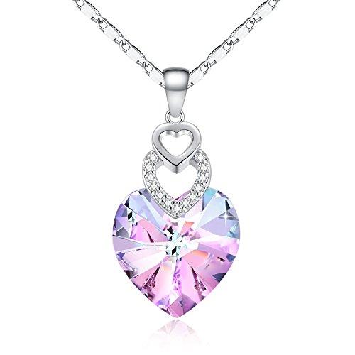 Etanoluv Collar Colgante de Corazón Swarovski Joyería de Moda para Mujer Chica Morado 45cm