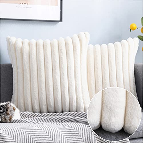 MISELCOUTH Soft Faux Fur Plush Decorative Throw Pillow Covers Furry Striped Pillowcase Cushion Covers for Sofa Couch Bedroom,18'x18' inch, White, Pack of 2
